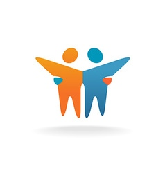 Two friends logo People teamwork concept symbol vector