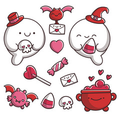 Valentines day ghosts vector