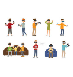 virtual reality vr glass headset people playing vector image