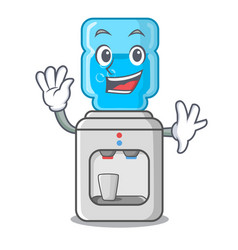 Waving electric water cooler against the cartoon vector