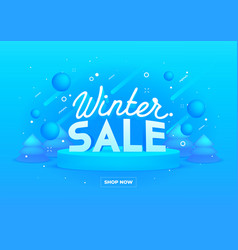 web banner for winter sale on blue background vector image