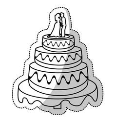 Wedding cake couple outline vector