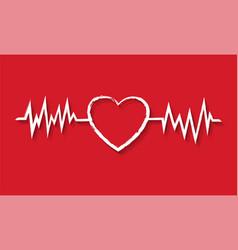 White heart symbol banner red background vector