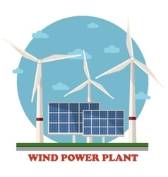 Wind and solar power plants with turbines vector