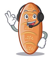With headphone baked bread character cartoon vector