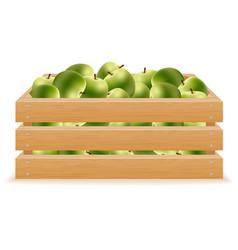 Wooden box of apples vector
