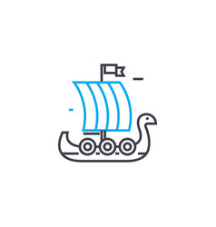 wooden sailer linear icon concept wooden sailer vector image