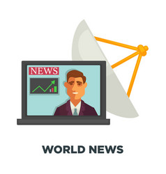 world news in open laptop and satellite dish vector image