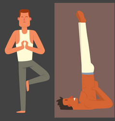 yoga positions mans characters class card vector image