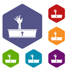 zombie hand coming out of his coffin icons set vector image