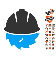 circular blade safety icon with valentine bonus vector image vector image