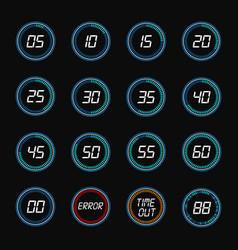 digital countdown timer clock design icons vector image