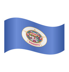 flag of minnesota waving on white background vector image vector image