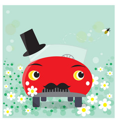 funny car cartoon moustached groom vector image