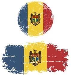 Moldovan round and square grunge flags vector image vector image