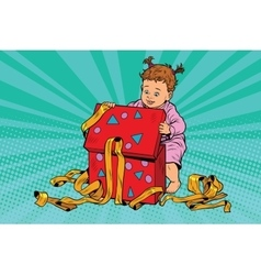 Pop art girl opens the gift box vector image