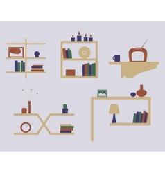 shelves icon set vector image
