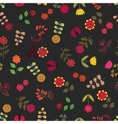 Yellow seamless pattern with flowers vector image