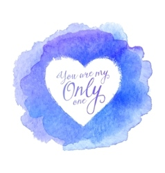 Blue watercolor painted stain with heart shape vector image vector image