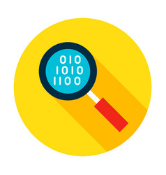 data search flat circle icon vector image vector image