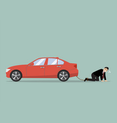 desperate businessman with car debt burden vector image vector image