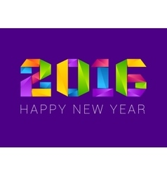 Happy new year 2016 text design colorful vector image vector image