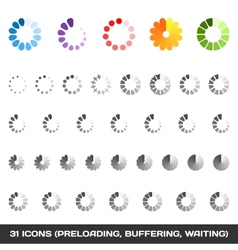 Loading And Buffering Icon Set Preloaders vector image