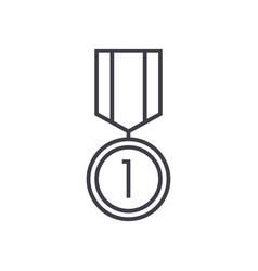 medal line icon sign on vector image