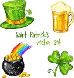 Sketch Saint Patrick day set vector image vector image