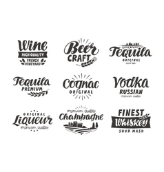 Alcoholic drink Collection lettering labels for vector image vector image