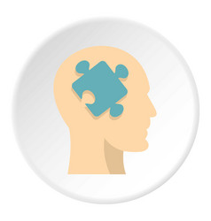 head silhouette with jigsaw puzzle icon circle vector image vector image