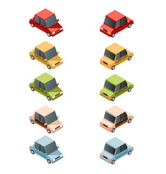 set of isometric car icons2 vector image