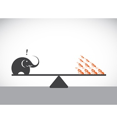 Elephant and ant vector image vector image