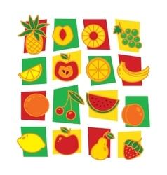 Fruits icons isolated on white background vector image