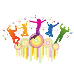 Music background with dancing people vector image vector image