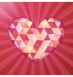Red diamond triangles texture shining heart vector