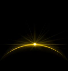 Rising Sun over the Earth Planet with Space vector image