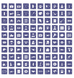 100 donation icons set grunge sapphire vector