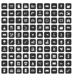 100 industry icons set black vector