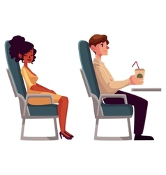 Airplane passengers - black african woman and man vector image