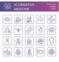 alternative medicine line icons naturopathy vector image