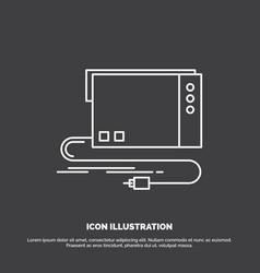 Audio card external interface sound icon line vector