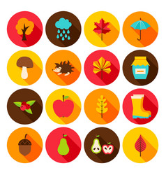 Autumn flat icons vector