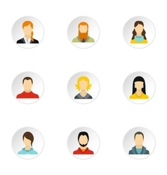 Avatar icons set flat style vector