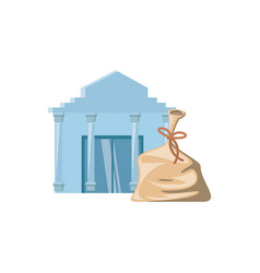 bank building with money bag isolated icon vector image