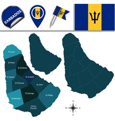 Barbados map with named divisions vector