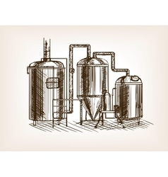 Beer brewing sketch vector