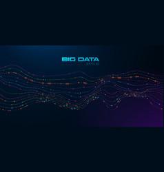 big data visualization wavy stream particles vector image