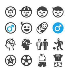 boy icon set vector image