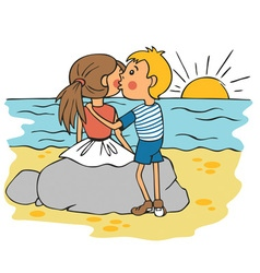 Boy kissing girl on cheek at sunset vector